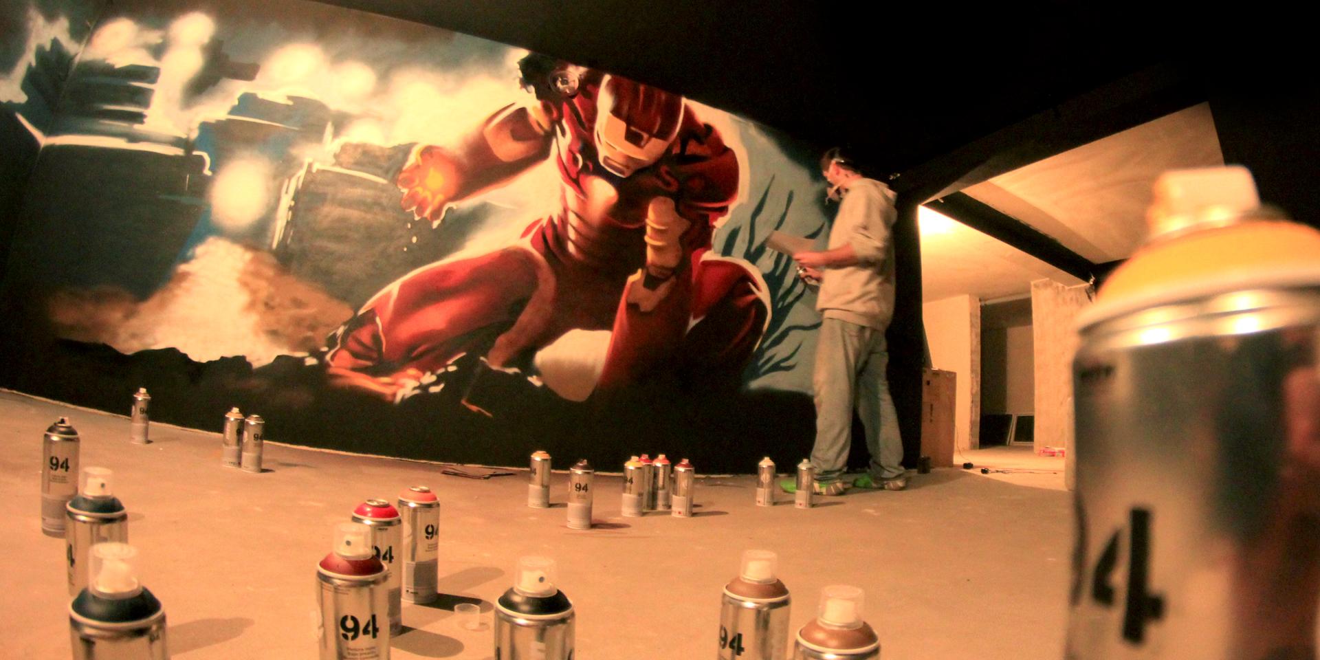 Graffiti iron man
